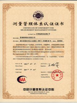 Measurements management system certiificate